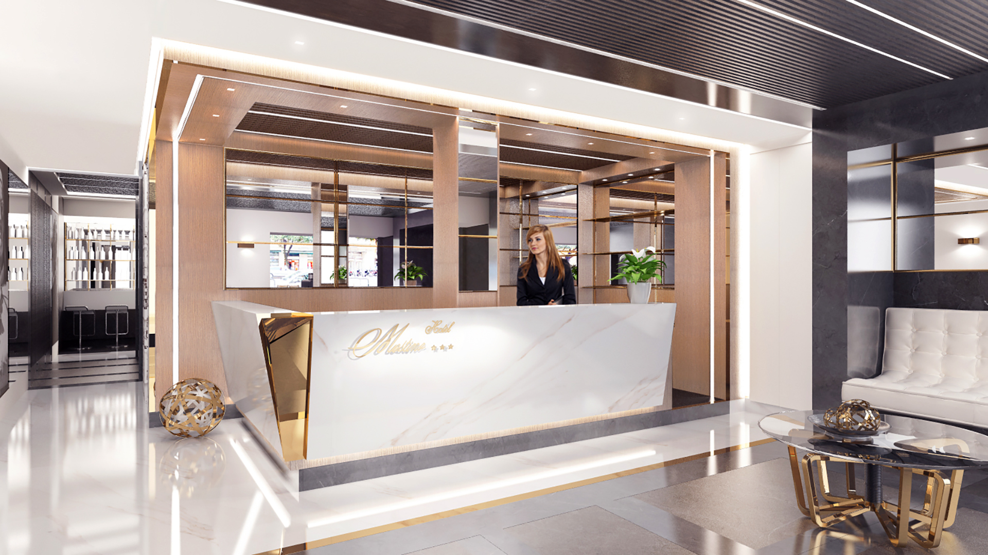render banco reception hotel mastino